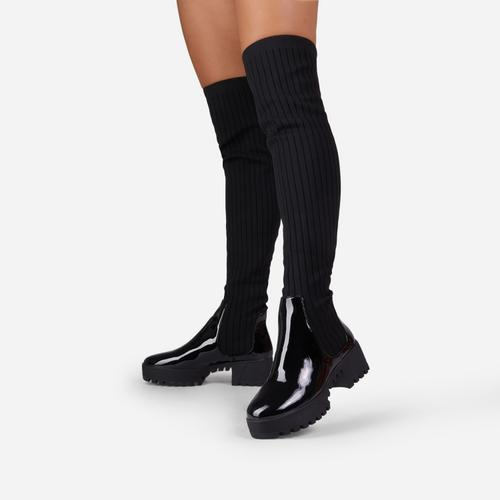 Colorado Knitted Over The Knee Thigh High Long Sock Biker Boot In Black Faux Leather