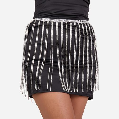 Diamante Tassel Skirt In Silver