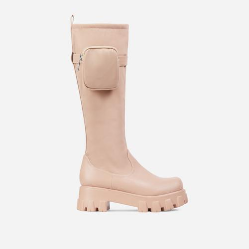 Galleria Pocked Detail Chunky Sole Knee High Long Biker Boot In Nude Nylon And Faux Leather