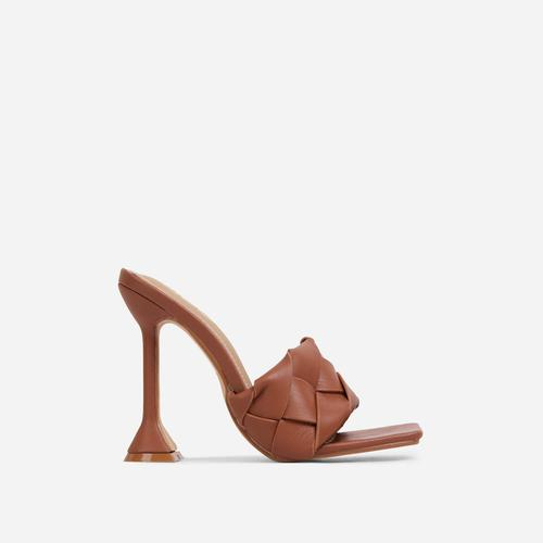 Handled Woven Square Peep Toe Sculptured Heel Mule In Tan Brown Faux Leather
