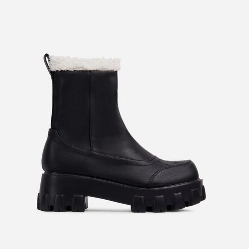 Tripper Faux Shearling Detail Chunky Sole Ankle Biker Boot In Black Faux Leather