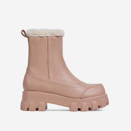 Tripper Faux Shearling Detail Chunky Sole Ankle Biker Boot In Nude Faux Leather