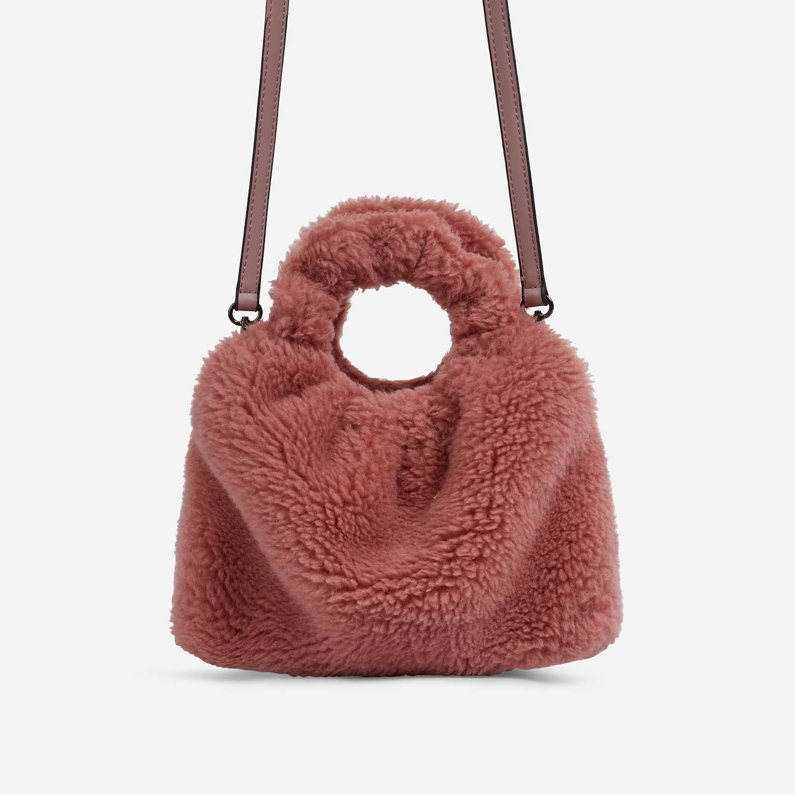 Bubbles Grab Bag In Pink Faux Shearling