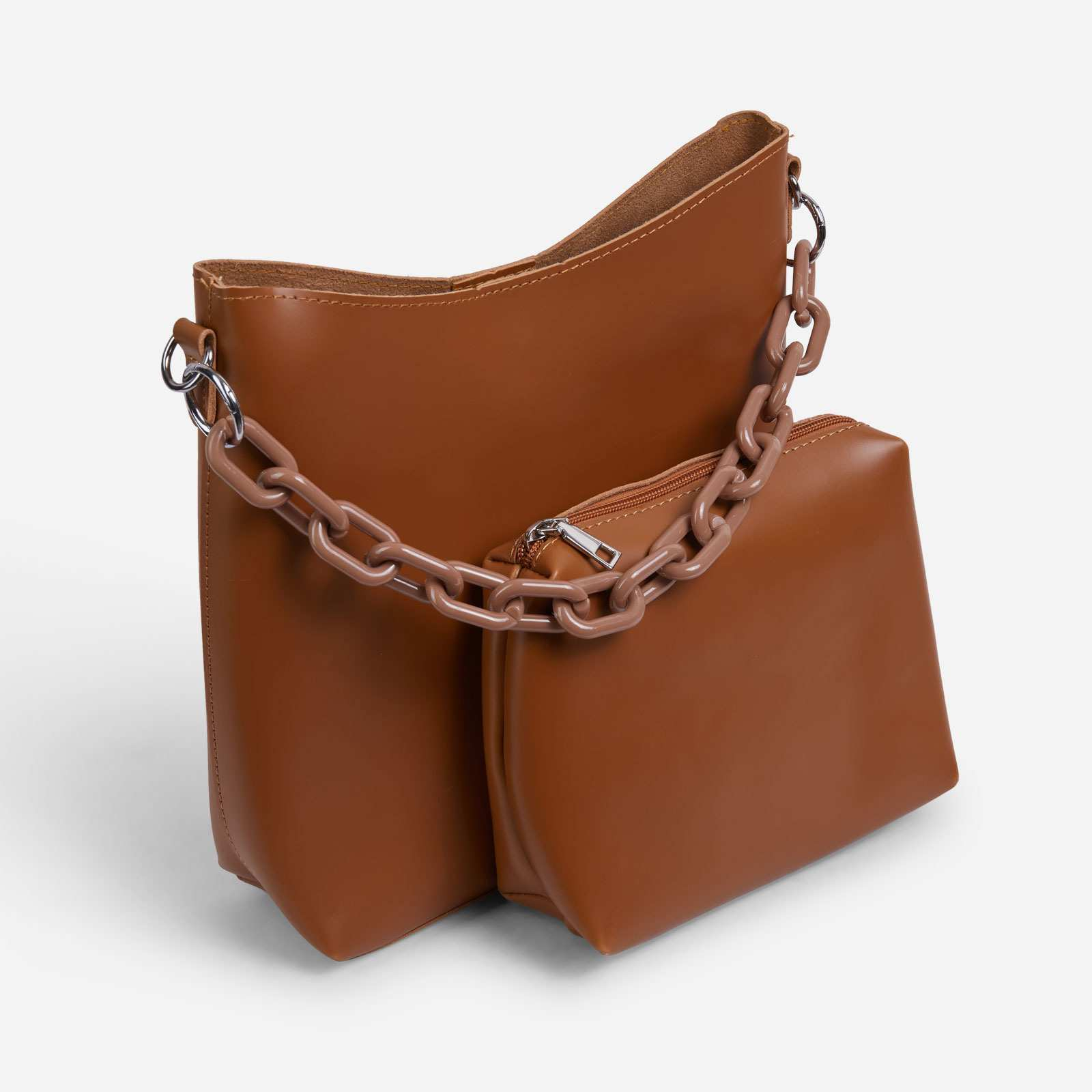 Bounty Chain Strap Oversized Shopper Bag In Tan Brown Faux Leather