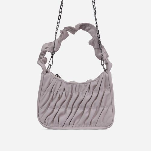 Fairy Ruched Shoulder Bag In White Faux Leather