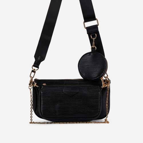 Mika Chain And Purse Detail Cross Body Bag In Black Snake Print Faux Leather