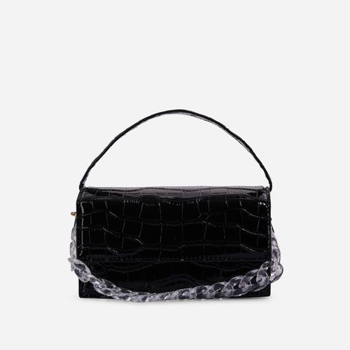Miami Chain Detail Boxy Grab Bag In Black Croc Print Patent