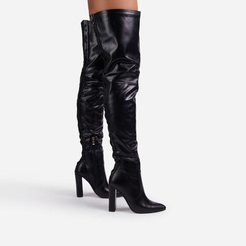 Invasion Block Heel Lace Up Over The Knee Thigh High Long Boot In Black Faux Leather