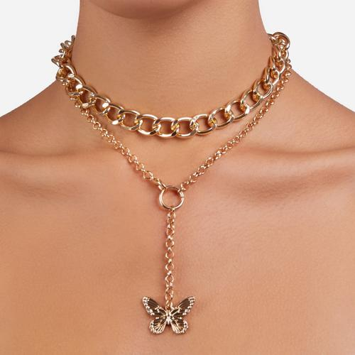 Drop Butterfly Detail Chunky Chain Choker In Gold