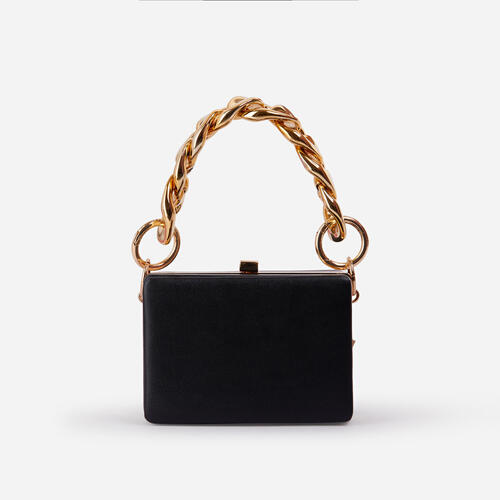 Kady Chunky Chain Box Bag In Black Faux Leather