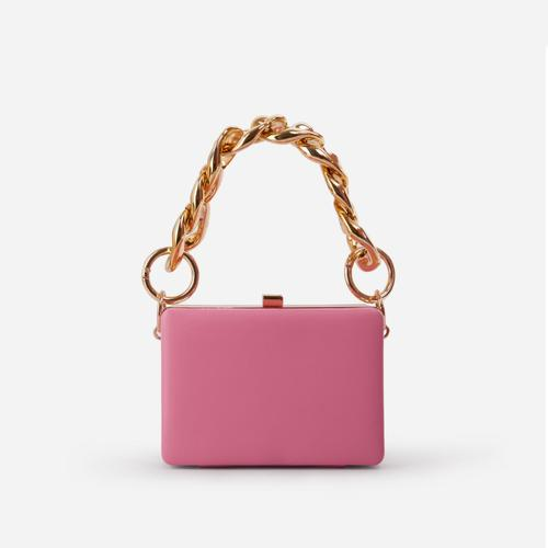 Kady Chunky Chain Box Bag In Pink Faux Leather