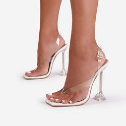Empire Sling Back Square Toe Thong Clear Perspex Pyramid Heel In White Patent