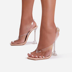 Empire Sling Back Square Toe Thong Clear Perspex Pyramid Heel In Nude Patent