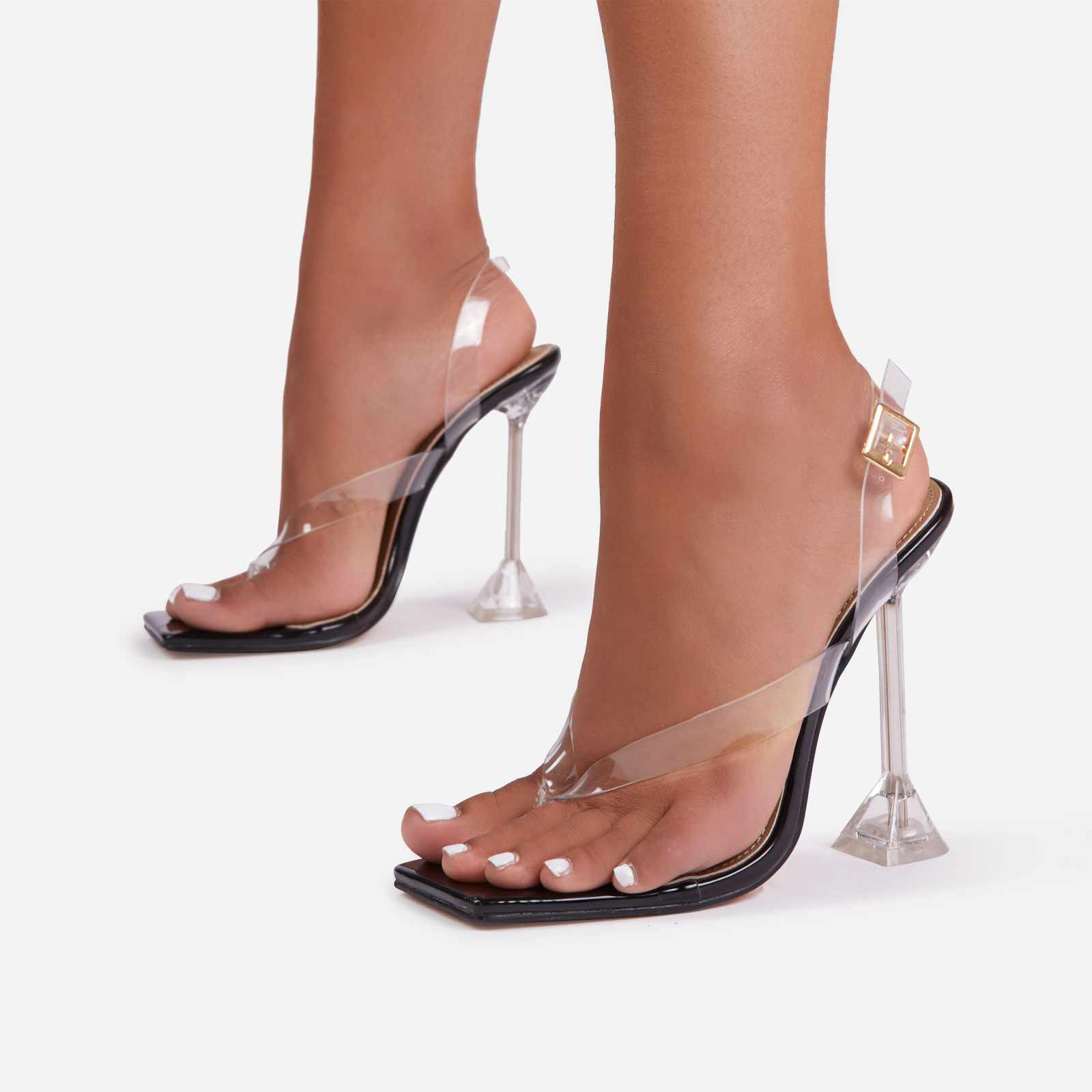 Empire Sling Back Square Toe Thong Clear Perspex Pyramid Heel In Black Patent
