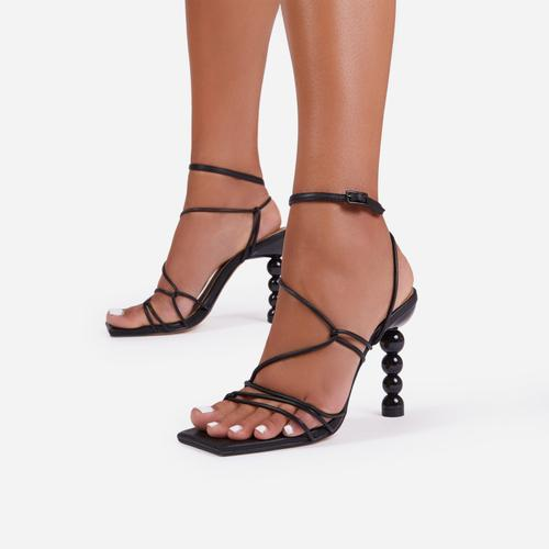 Mulberry Strappy Square Toe Sculptured Heel In Black Faux Leather