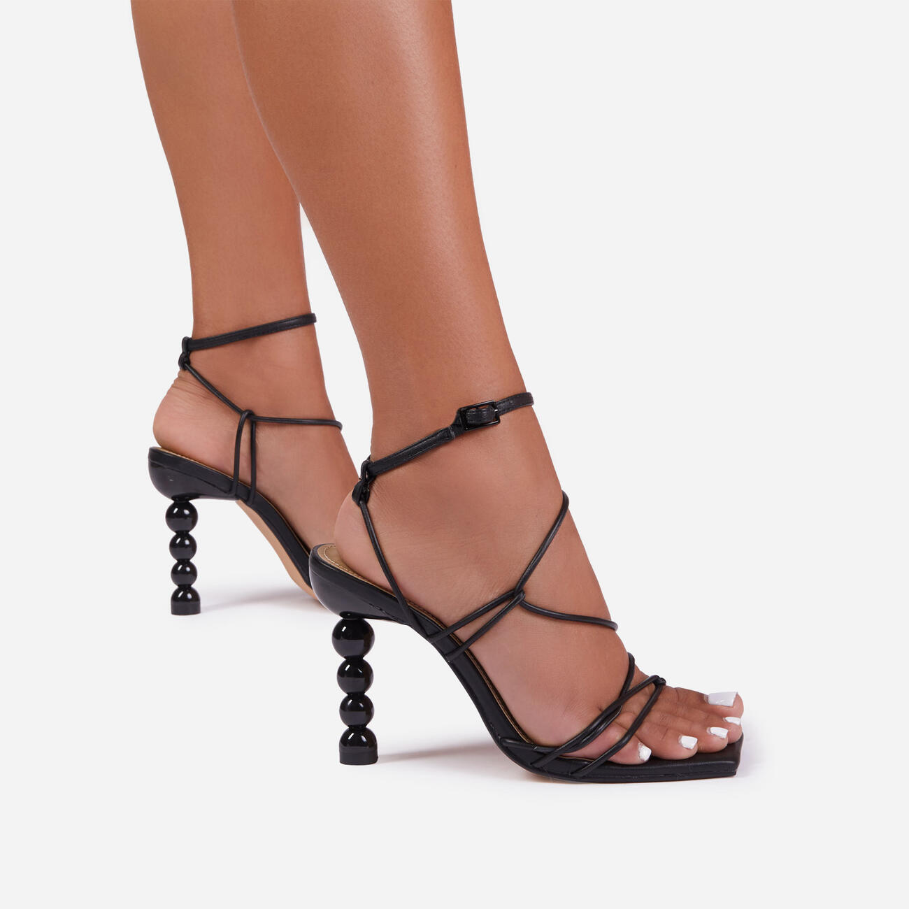 Mulberry Strappy Square Toe Sculptured Heel In Black Faux Leather Image 2