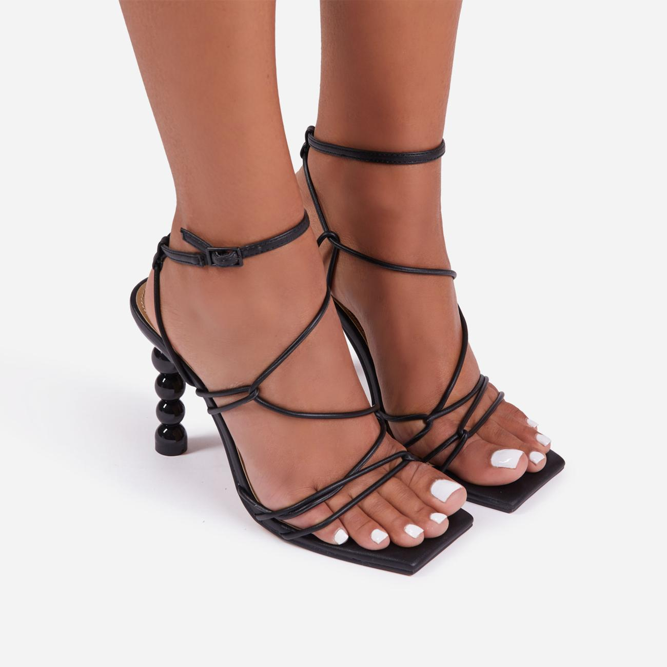 Mulberry Strappy Square Toe Sculptured Heel In Black Faux Leather Image 3