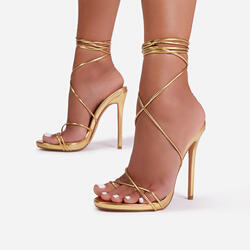 Gelato Lace Up Platform Heel In Gold Metallic Faux Leather