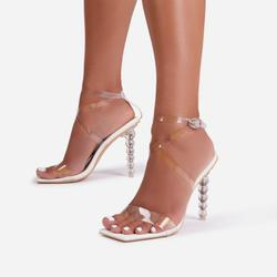 Thriller Strappy Square Toe Clear Perspex Sculptured Heel In White Faux Leather