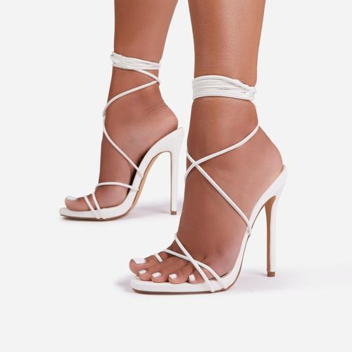Gelato Lace Up Platform Heel In White Faux Leather