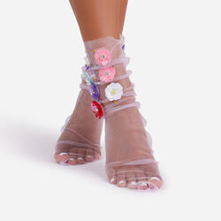 Oversized Floral Socks In Pink Mesh