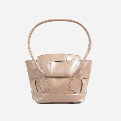 Abbie Oversized Woven Shopper Bag In Beige Faux Leather