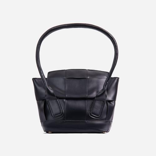Abbie Oversized Woven Shopper Bag In Black Faux Leather