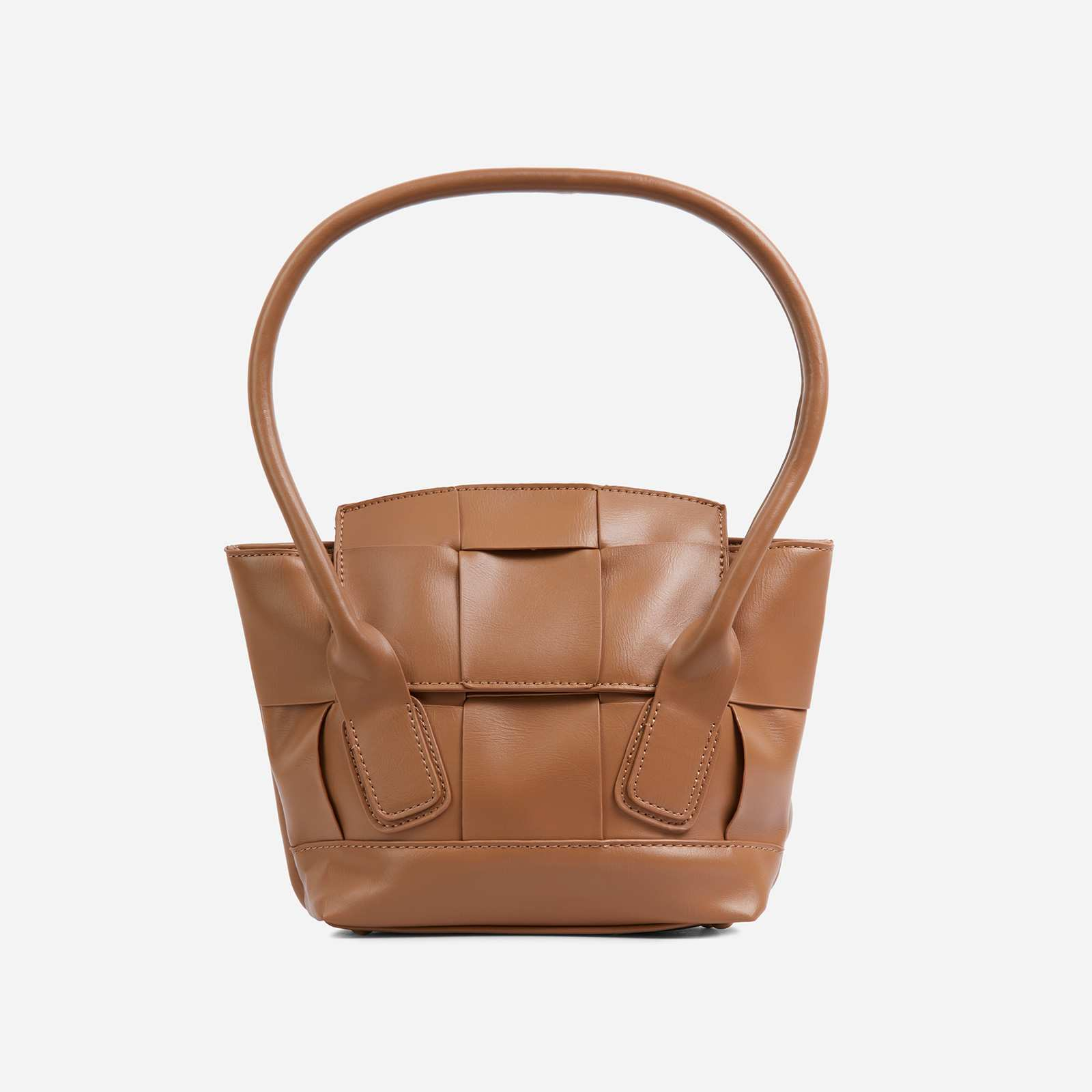 Abbie Oversized Woven Shopper Bag In Tan Brown Faux Leather