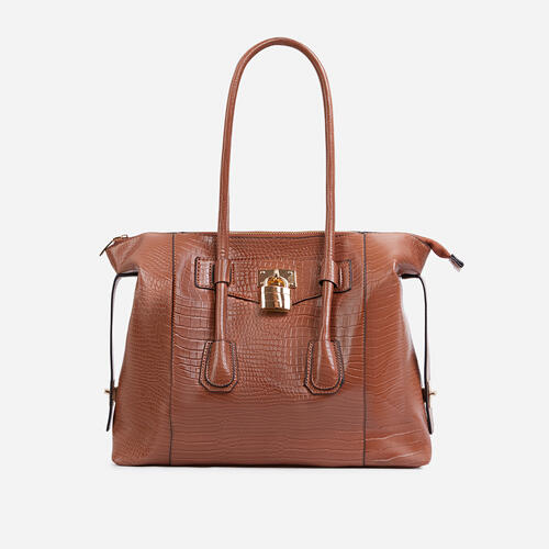 Vogue Oversized Tote Bag In Tan Brown Croc Print Patent