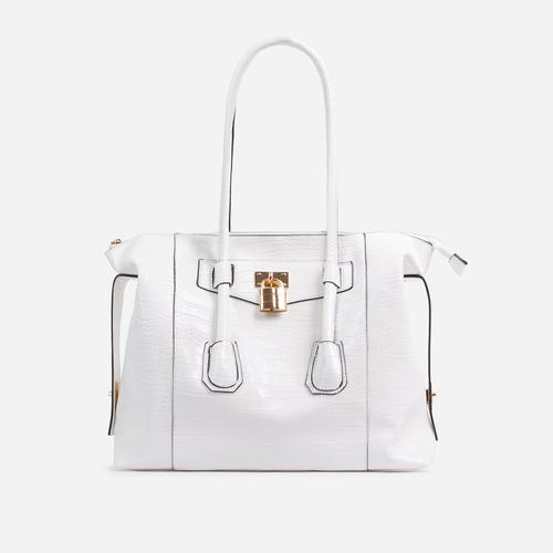 Vogue Oversized Tote Bag In White Croc Print Patent