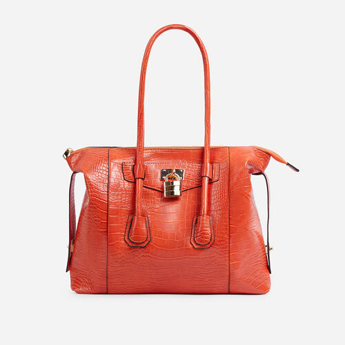 Vogue Oversized Tote Bag In Orange Croc Print Patent