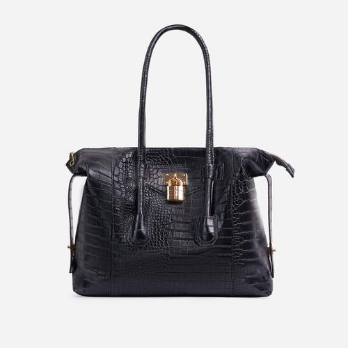 Vogue Oversized Tote Bag In Black Croc Print Patent