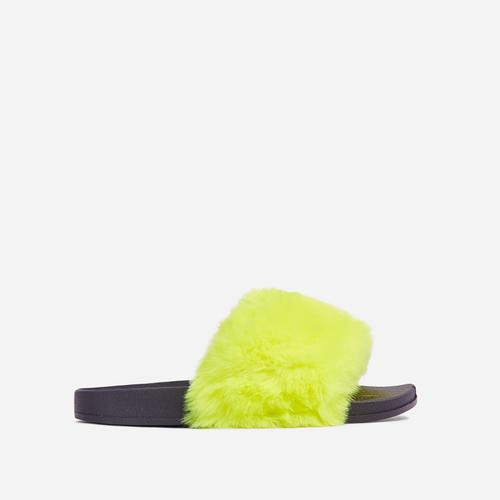 Relax Fluffy Flat Slider Sandal In Yellow Faux Fur