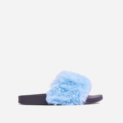 Relax Fluffy Flat Slider Sandal In Blue Faux Fur