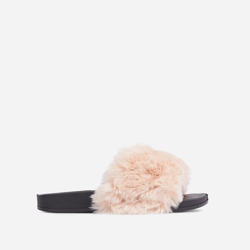 Relax Fluffy Flat Slider Sandal In Nude Faux Fur