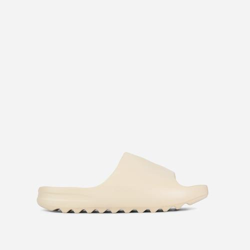 Kendall Faux Shearling Flat Slider Sandal In Ivory Rubber