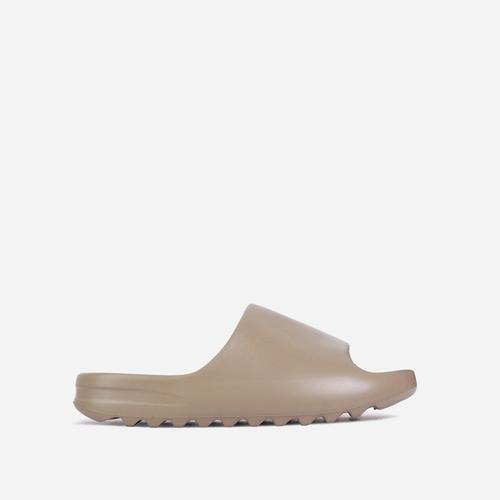 Kendall Faux Shearling Flat Slider Sandal In Khaki Green Rubber
