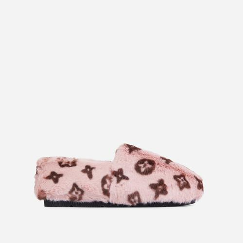 Kahlua Fluffy Printed Detail Flat Slipper In Pink Faux Fur
