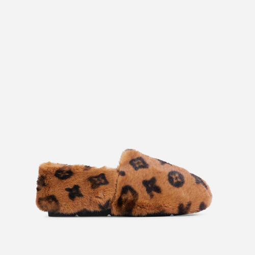 Kahlua Fluffy Printed Detail Flat Slipper In Tan Brown Faux Fur