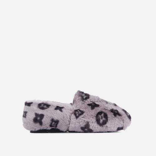 Kahlua Fluffy Printed Detail Flat Slipper In Grey Faux Fur