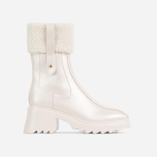 Aiden Faux Shearling Trim Block Heel Ankle Wellington Boot In Nude