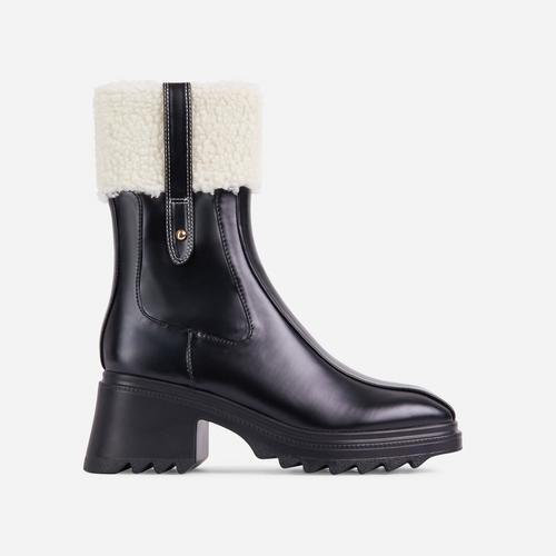 Aiden Faux Shearling Trim Block Heel Ankle Wellington Boot In Black