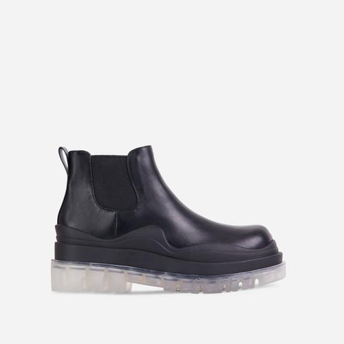 Truly Clear Perspex Chunky Sole Ankle Chelsea Biker Boot In Black Faux Leather