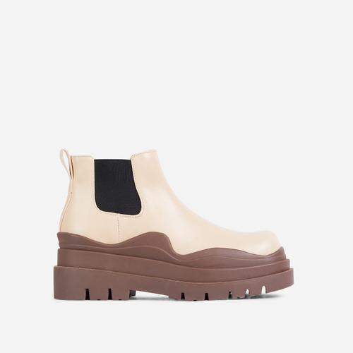 Truly Clear Perspex Chunky Sole Ankle Chelsea Biker Boot In Nude Faux Leather