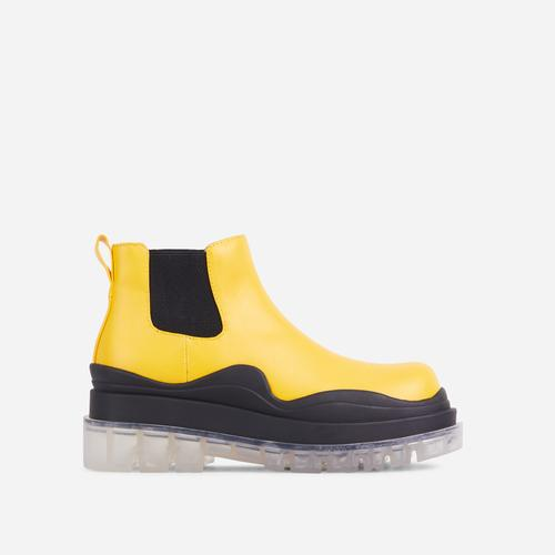 Truly Clear Perspex Chunky Sole Ankle Chelsea Biker Boot In Yellow Faux Leather