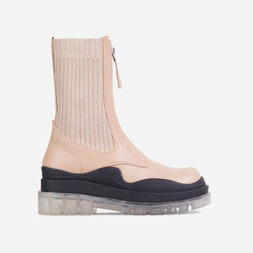 Staying Knitted Zip Up Detail Clear Perspex Chunky Sole Ankle Biker Boot In Nude Faux Leather