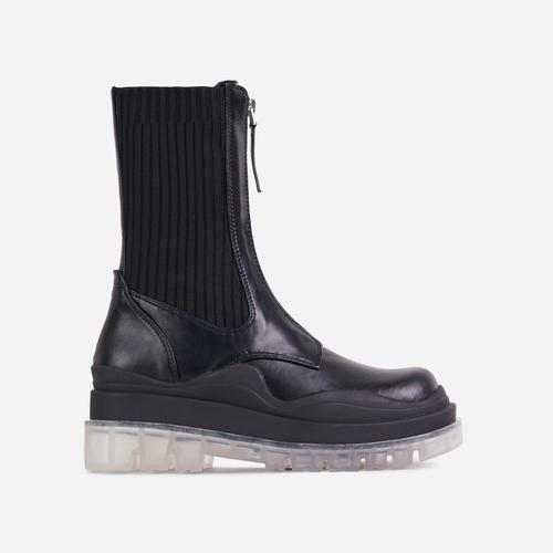 Staying Knitted Zip Up Detail Clear Perspex Chunky Sole Ankle Biker Boot In Black Faux Leather