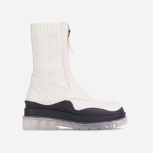Staying Knitted Zip Up Detail Clear Perspex Chunky Sole Ankle Biker Boot In Off White Faux Leather