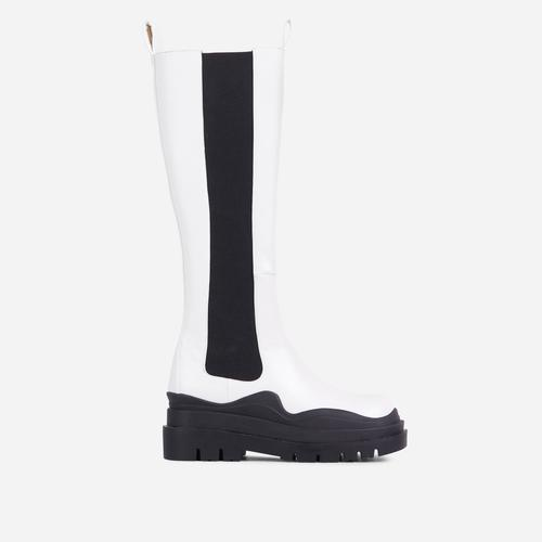 London Black Chunky Sole Knee High Long Biker Boot In White Faux Leather