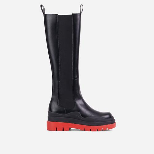 London Red Chunky Sole Knee High Long Biker Boot In Black Faux Leather